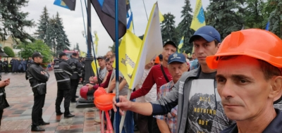 Miners continuing protest in Kyiv
